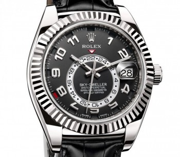ROLEX- SKY-DWELLER WHITE GOLD LEATHER 